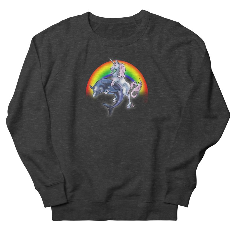 Dolphin Unicorn Love Women's French Terry Sweatshirt by Rocks Off Designs