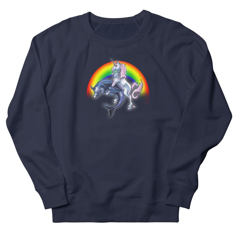Dolphin Unicorn Love Men's French Terry Sweatshirt by Rocks Off Designs