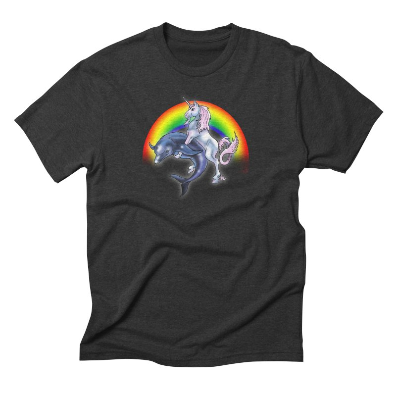 Dolphin Unicorn Love Men's Triblend T-Shirt by Rocks Off Designs