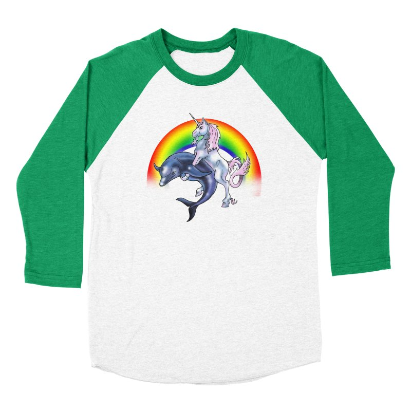 Dolphin Unicorn Love Women's Baseball Triblend Longsleeve T-Shirt by Rocks Off Designs