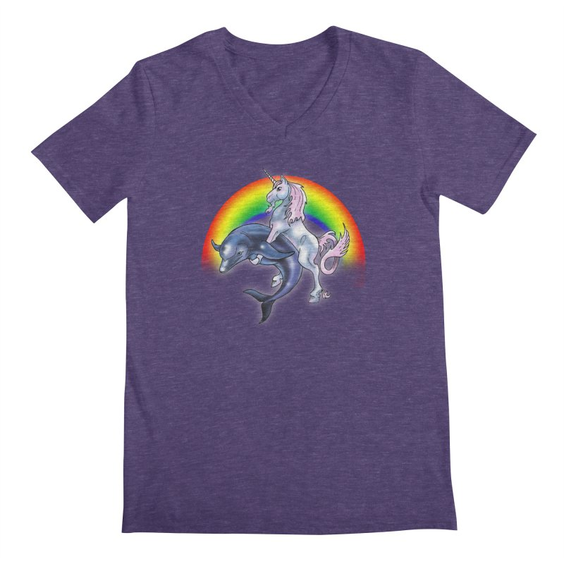 Dolphin Unicorn Love Men's Regular V-Neck by Rocks Off Designs