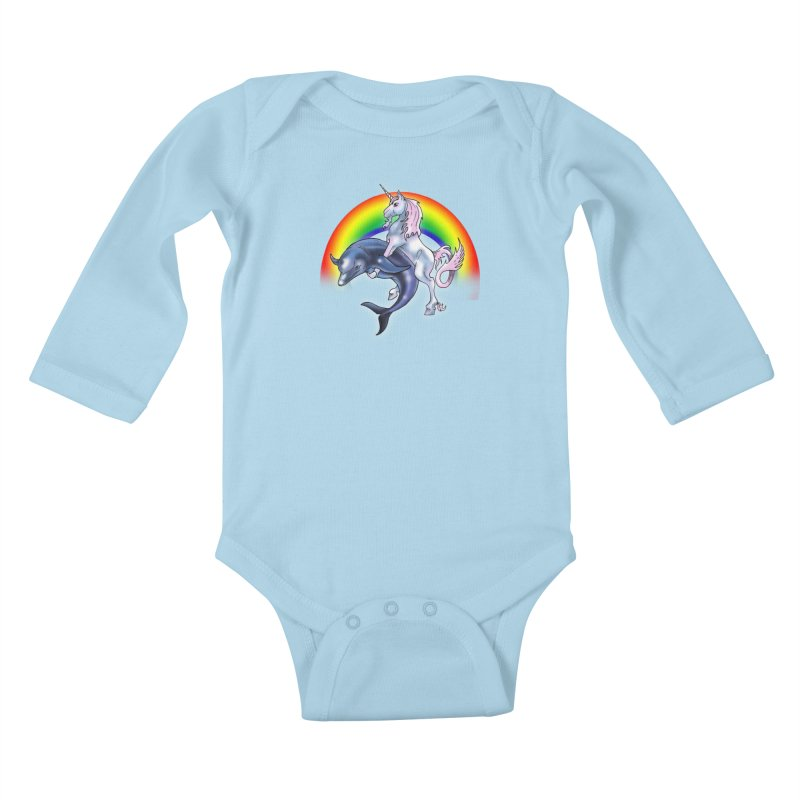 Dolphin Unicorn Love Kids Baby Longsleeve Bodysuit by Rocks Off Designs