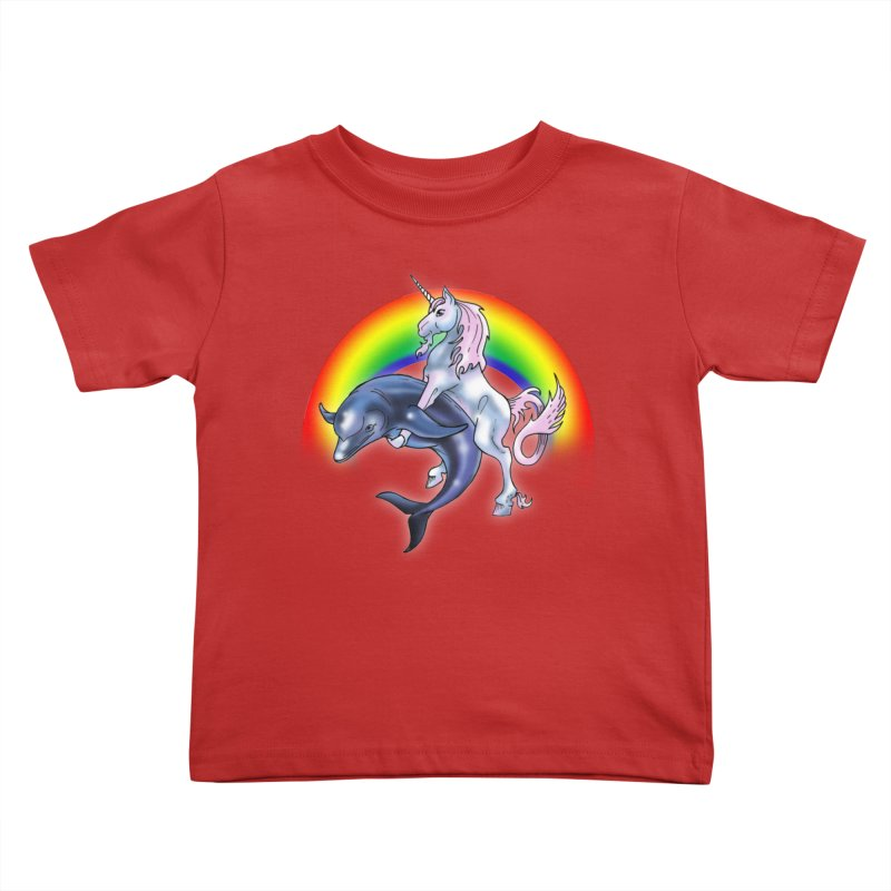 Dolphin Unicorn Love Kids Toddler T-Shirt by Rocks Off Designs