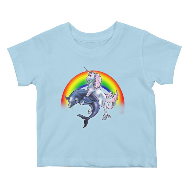 Dolphin Unicorn Love Kids Baby T-Shirt by Rocks Off Designs