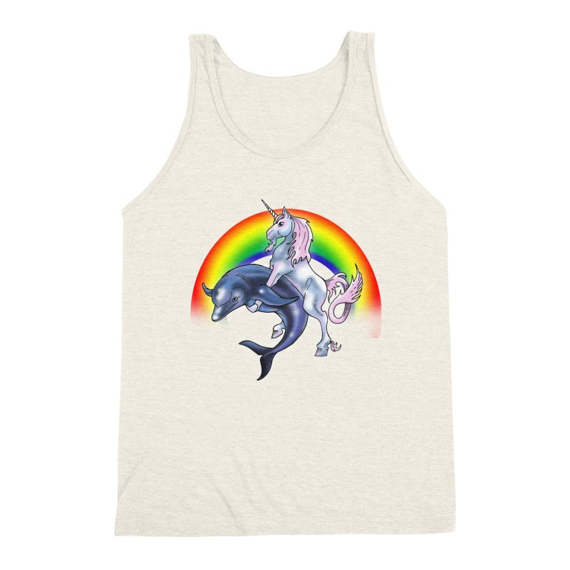 Dolphin Unicorn Love Men's Triblend Tank by Rocks Off Designs