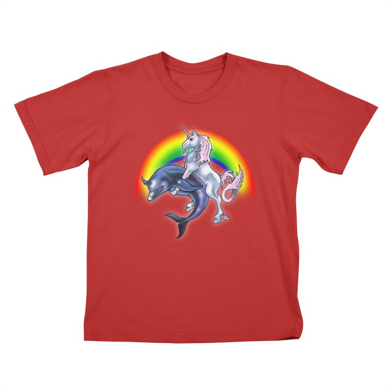Dolphin Unicorn Love Kids T-Shirt by Rocks Off Designs
