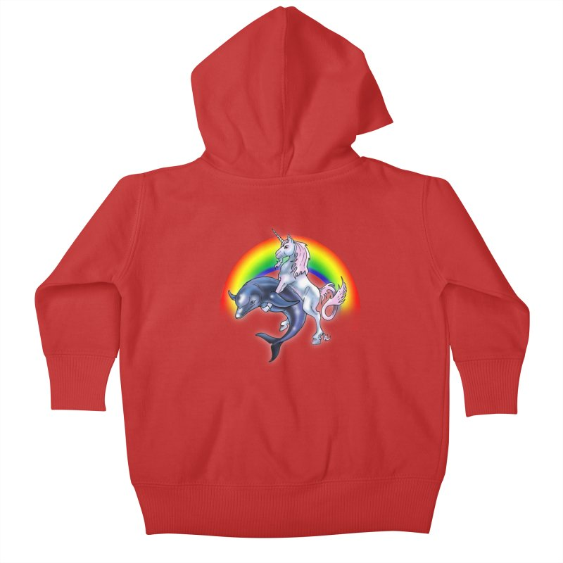 Dolphin Unicorn Love Kids Baby Zip-Up Hoody by Rocks Off Designs