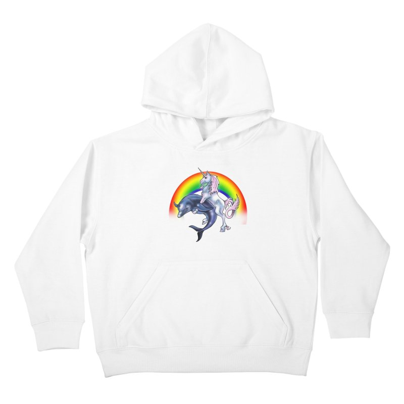 Dolphin Unicorn Love Kids Pullover Hoody by Rocks Off Designs