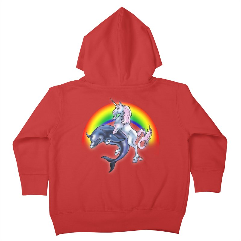 Dolphin Unicorn Love Kids Toddler Zip-Up Hoody by Rocks Off Designs