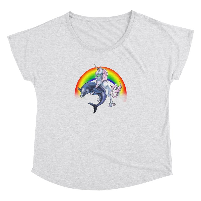 Dolphin Unicorn Love Women's Dolman Scoop Neck by Rocks Off Designs