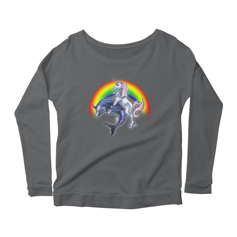 Dolphin Unicorn Love Women's Longsleeve T-Shirt by Rocks Off Designs