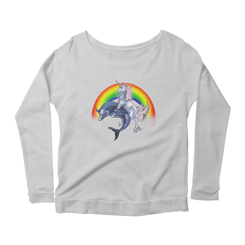 Dolphin Unicorn Love Women's Scoop Neck Longsleeve T-Shirt by Rocks Off Designs