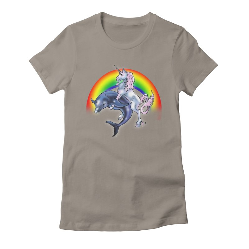 Dolphin Unicorn Love Women's Fitted T-Shirt by Rocks Off Designs