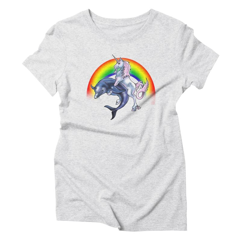 Dolphin Unicorn Love Women's T-Shirt by Rocks Off Designs