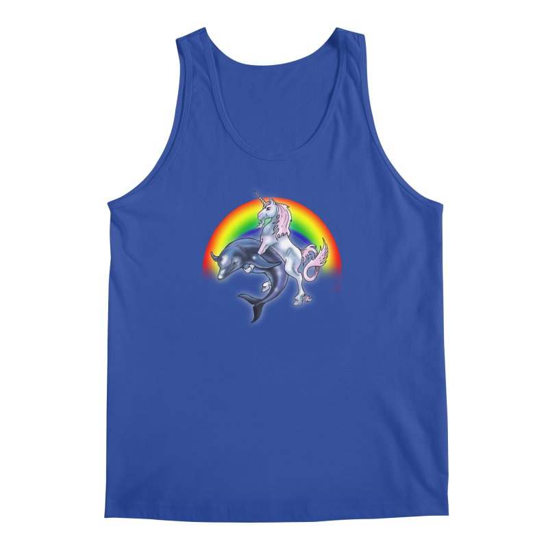 Dolphin Unicorn Love Men's Regular Tank by Rocks Off Designs