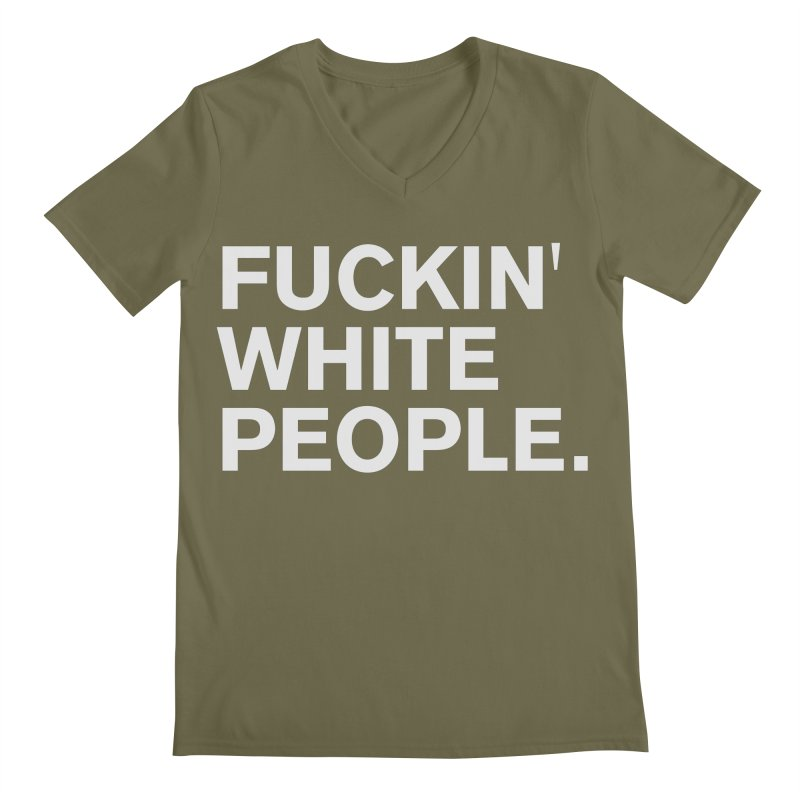 White People Men's Regular V-Neck by Rocks Off Designs