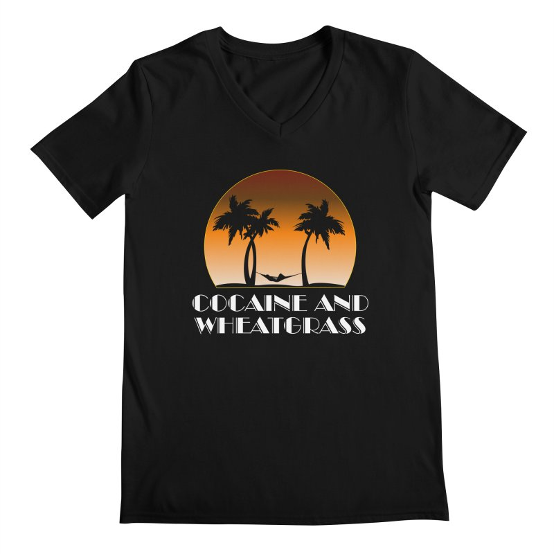 Cocaine & Wheatgrass Men's Regular V-Neck by Rocks Off Designs