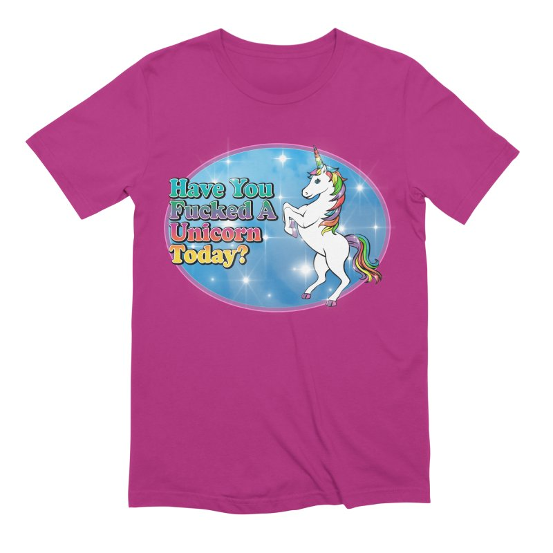 Unicorn Love in Men's Extra Soft T-Shirt Berry by Rocks Off Designs