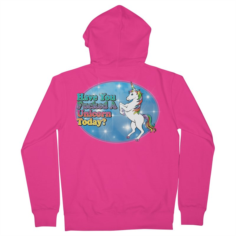 Unicorn Love Men's French Terry Zip-Up Hoody by Rocks Off Designs
