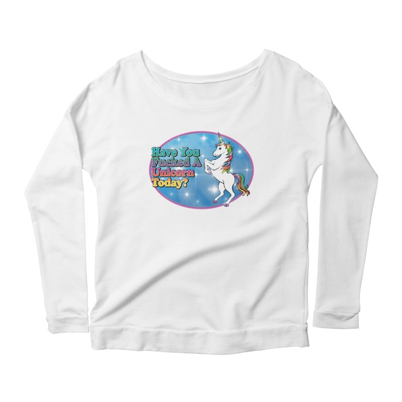 Unicorn Love Women's Scoop Neck Longsleeve T-Shirt by Rocks Off Designs