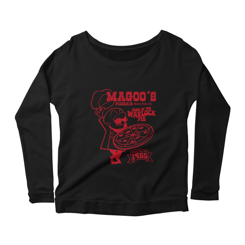 Magoo's Pizzeria Women's Scoop Neck Longsleeve T-Shirt by Rocks Off Designs