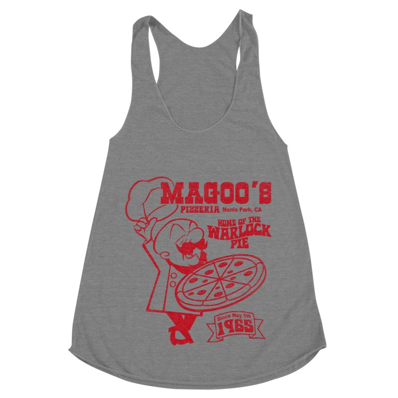 Magoo's Pizzeria Women's Racerback Triblend Tank by Rocks Off Designs
