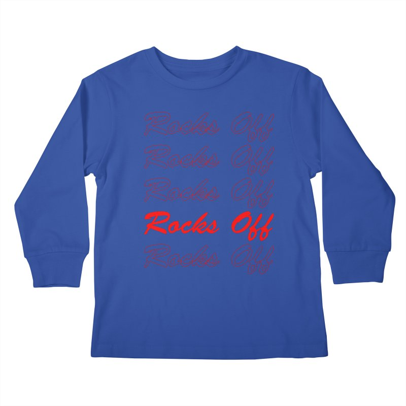 Rocks Off script Kids Longsleeve T-Shirt by Rocks Off Designs