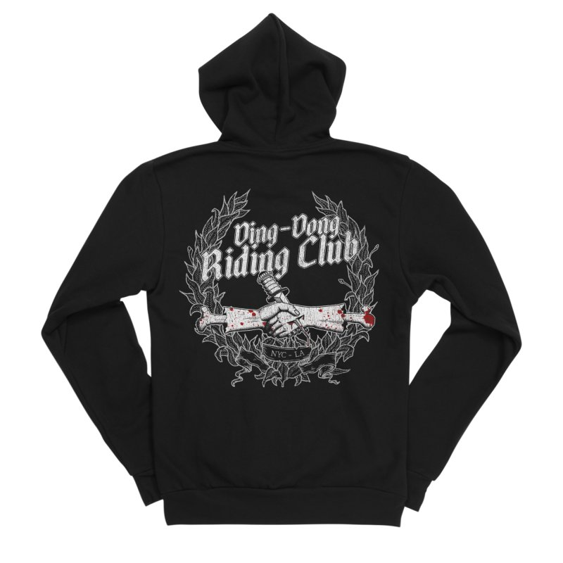 Ding-Dong Riding Club Men's Sponge Fleece Zip-Up Hoody by Rocks Off Designs
