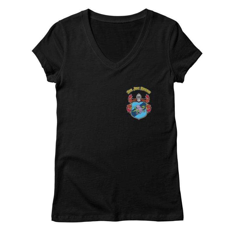 SIR JOE RUSSO left chest print apparel Women's V-Neck by Rocks Off Threads