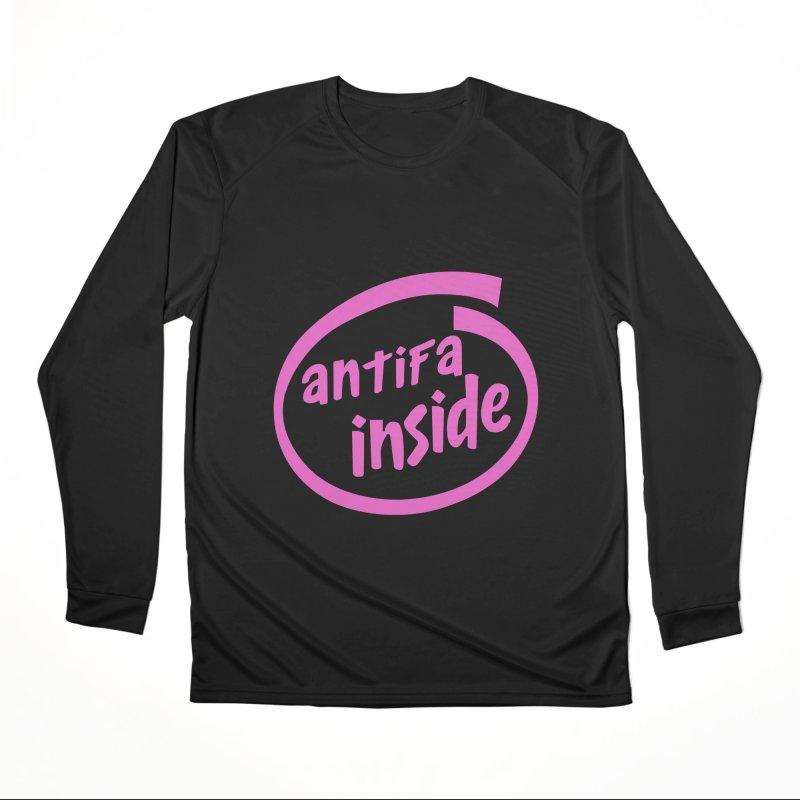 ANTIFA INSIDE pink Women's Longsleeve T-Shirt by Rocks Off Threads