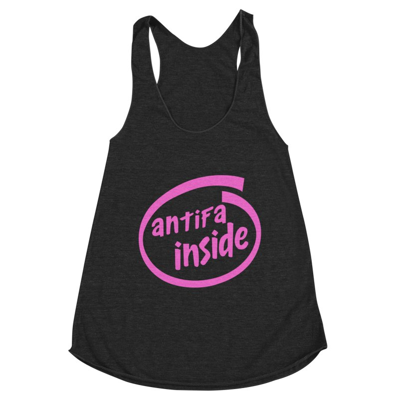 ANTIFA INSIDE pink Women's Tank by Rocks Off Threads