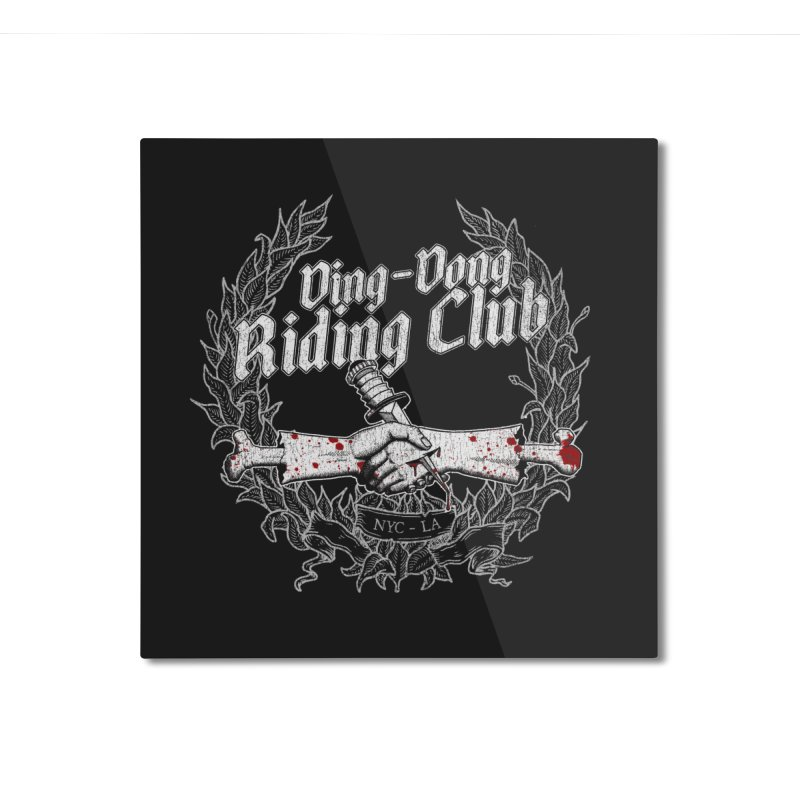 DING DONG RIDING CLUB Home Mounted Aluminum Print by Rocks Off Threads