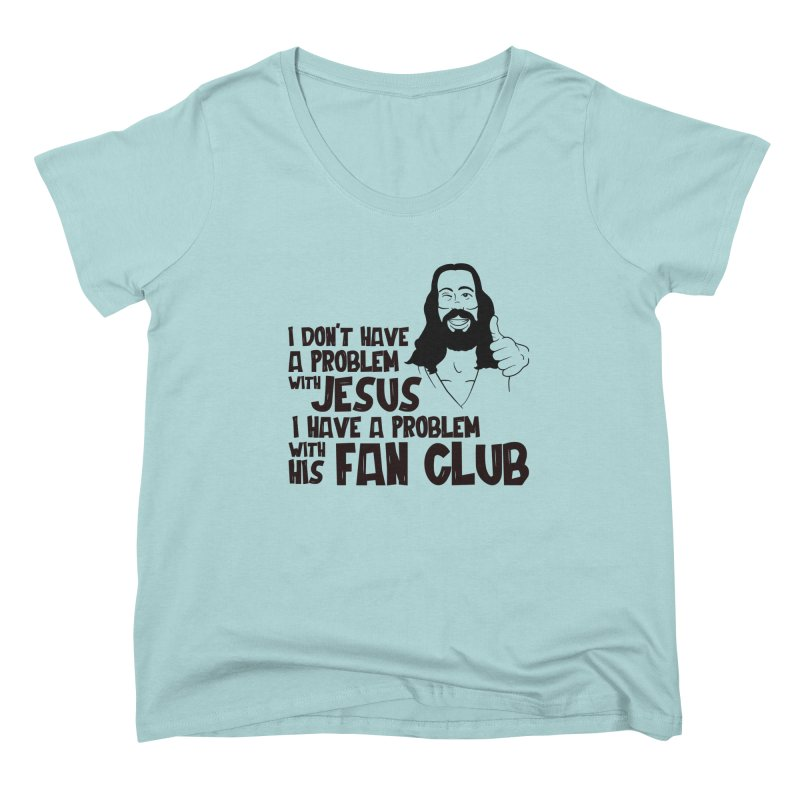 NO PROBLEM WITH JESUS Women's Scoop Neck by Rocks Off Threads