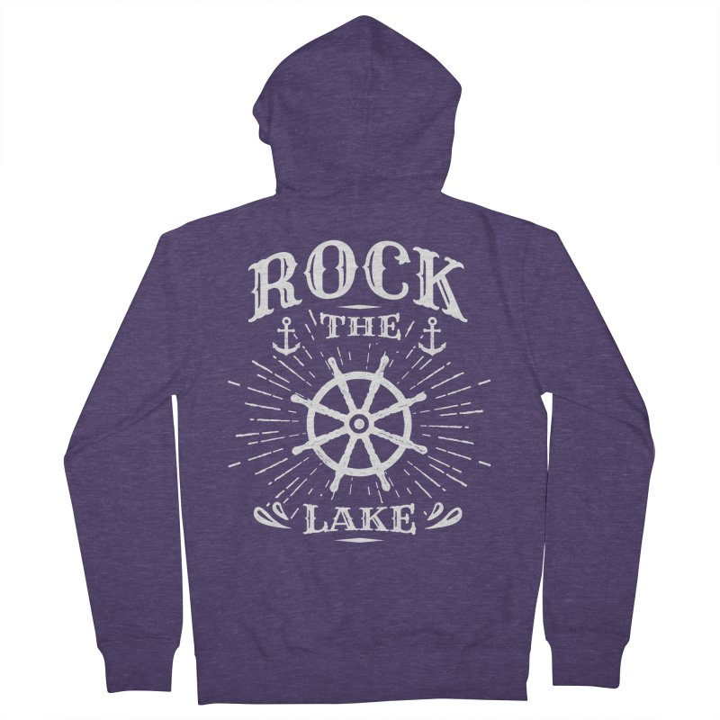 Rock the Lake - Ships Wheel White Men's French Terry Zip-Up Hoody by Rock the Lake's Shop