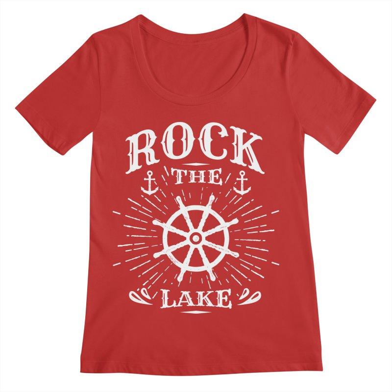 Rock the Lake - Ships Wheel White Women's Regular Scoop Neck by Rock the Lake's Shop