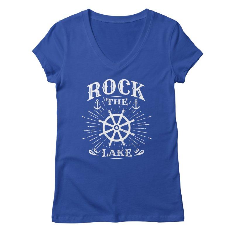 Rock the Lake - Ships Wheel White Women's Regular V-Neck by Rock the Lake's Shop