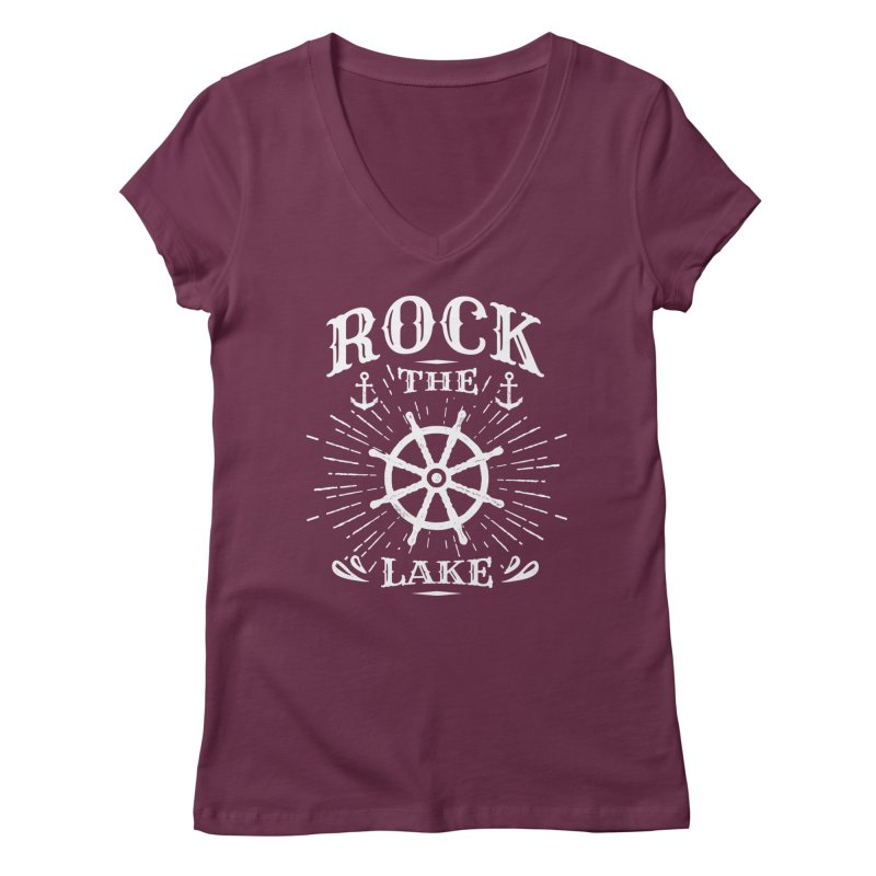 Rock the Lake - Ships Wheel White Women's Regular V-Neck by Rock the Lake's Shop