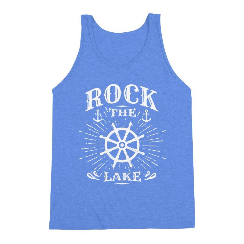 Rock the Lake - Ships Wheel White Men's Triblend Tank by Rock the Lake's Shop