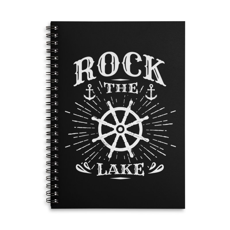 Rock the Lake - Ships Wheel White Accessories Lined Spiral Notebook by Rock the Lake's Shop
