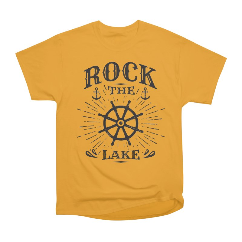 Rock the Lake - Ships Wheel Black Men's Heavyweight T-Shirt by Rock the Lake's Shop