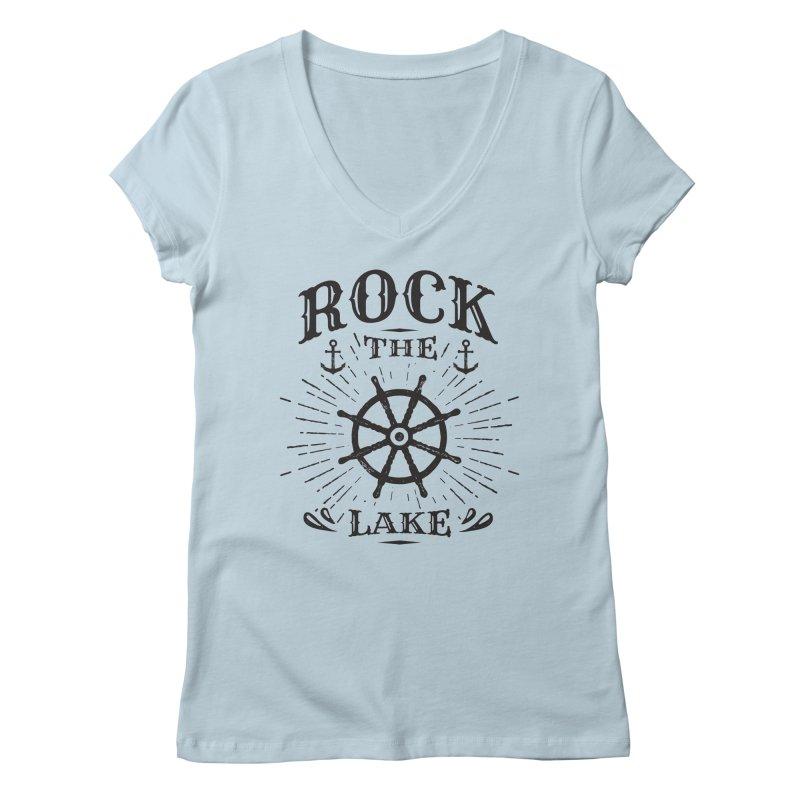 Rock the Lake - Ships Wheel Black Women's V-Neck by Rock the Lake's Shop