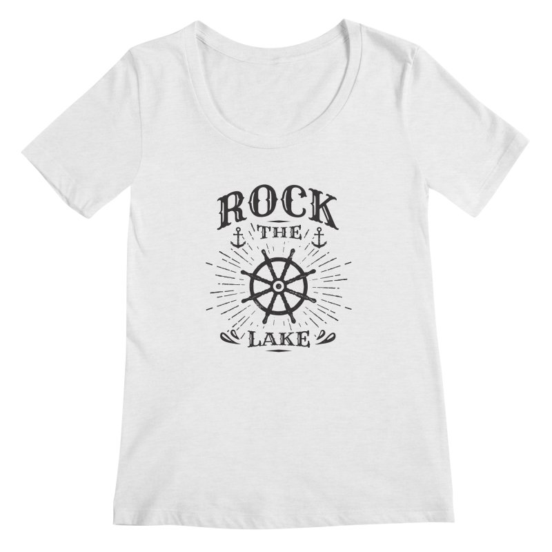 Rock the Lake - Ships Wheel Black Women's Regular Scoop Neck by Rock the Lake's Shop
