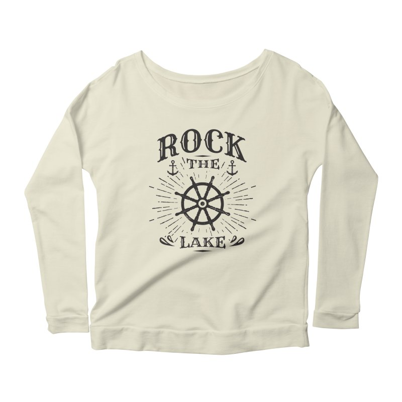 Rock the Lake - Ships Wheel Black Women's Scoop Neck Longsleeve T-Shirt by Rock the Lake's Shop