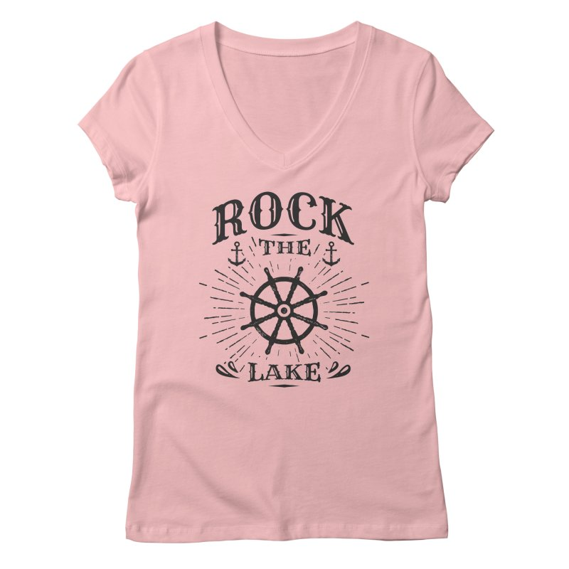 Rock the Lake - Ships Wheel Black Women's Regular V-Neck by Rock the Lake's Shop