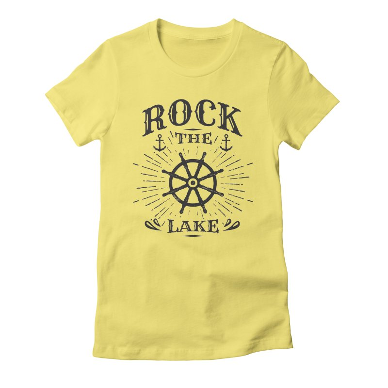 Rock the Lake - Ships Wheel Black Women's Fitted T-Shirt by Rock the Lake's Shop