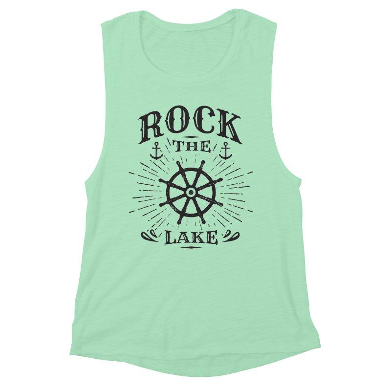 Rock the Lake - Ships Wheel Black Women's Muscle Tank by Rock the Lake's Shop