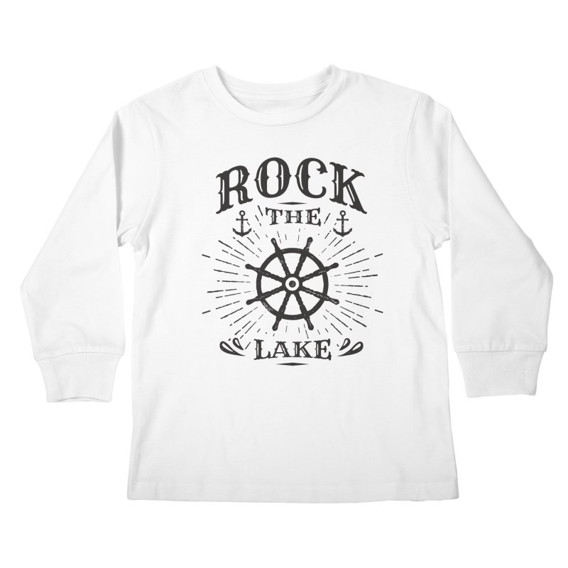 Rock the Lake - Ships Wheel Black Kids Longsleeve T-Shirt by Rock the Lake's Shop