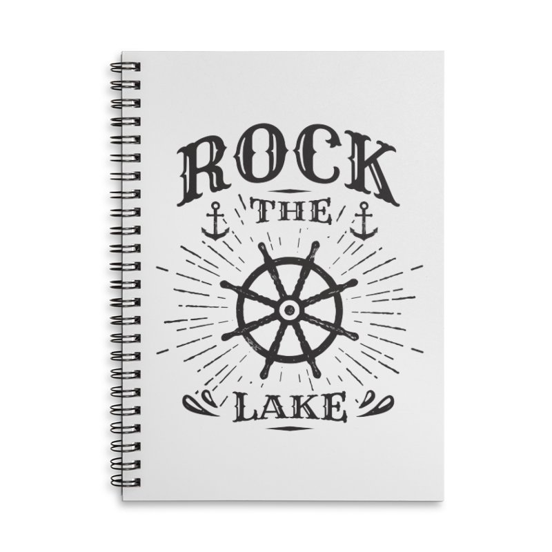 Rock the Lake - Ships Wheel Black Accessories Lined Spiral Notebook by Rock the Lake's Shop