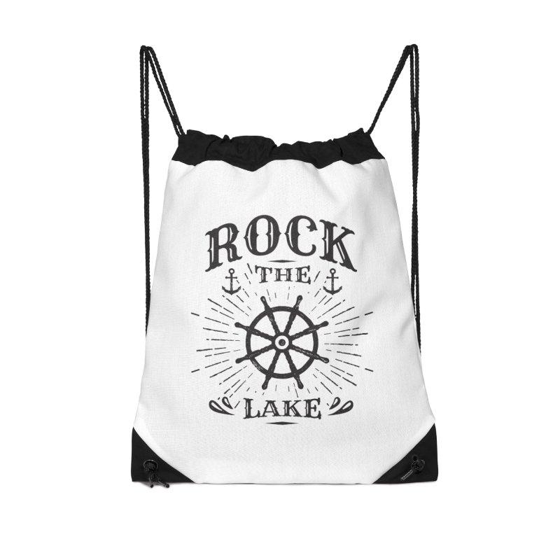 Rock the Lake - Ships Wheel Black Accessories Drawstring Bag Bag by Rock the Lake's Shop