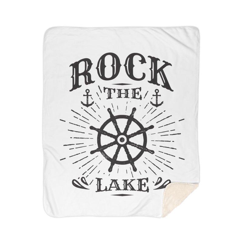 Rock the Lake - Ships Wheel Black Home Sherpa Blanket Blanket by Rock the Lake's Shop